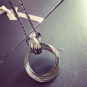 Annulus Alloy Hollow Out Pendant Necklace - GUN METAL