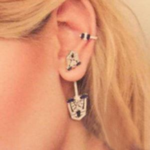 ONE PIECE Chic Rhinestoned Shield Earring For Women -