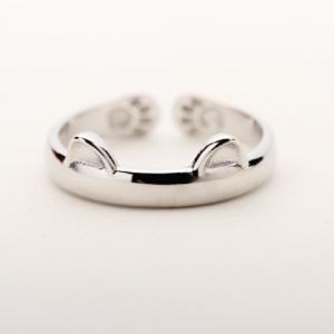 Alloy Cat Cuff Ring - Silver - One-size