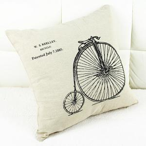 Modern Bicycle Pattern Square Decorative Pillowcase (Without Pillow Inner) -