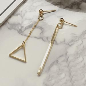 Pair of Delicate Bar Hollow Out Triangle Asymmetric Earrings For Women