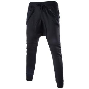 Lace-Up Solid Color Low-Crotch Beam Feet Zipper Design Splicing Men's Pants