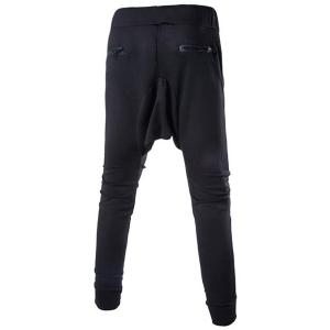 Lace-Up Solid Color Low-Crotch Beam Feet Zipper Design Splicing Men's Pants -