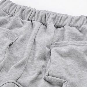 Elastic Waist Solid Color Low-Crotch Beam Feet Pocket Splicing Men's Pants -