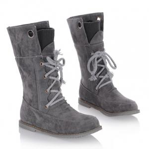 Casua Knitting and Lace-Up Design Women's Boots - GRAY 35