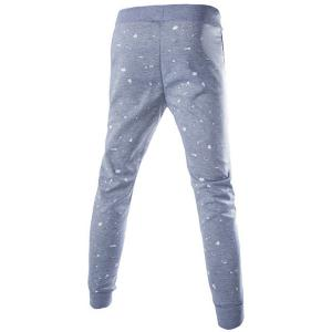 Lace-Up Letters and Flag Print Paint Dot Beam Feet Slimming Men's Pants -