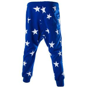 Lace-Up Stars Print Low-Crotch Beam Feet Slimming Men's Nine Minutes of Pants - BLUE XL