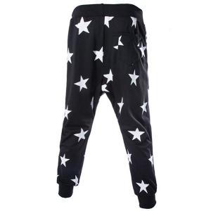 Lace-Up Stars Print Low-Crotch Beam Feet Slimming Men's Nine Minutes of Pants - BLACK L