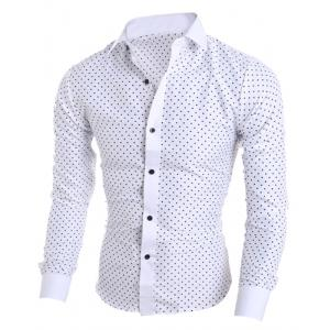 Classical Turn-Down Collar Long Sleeve Slimming Stars Print Men's Shirt - WHITE XL