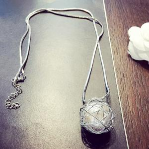 Delicate Faux Pearl Hollow Out Ball Shape Necklace For Women -