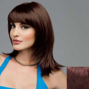 Charming Full Bang Medium Capless Vogue Layered Natural Straight Human Hair Wig For Women