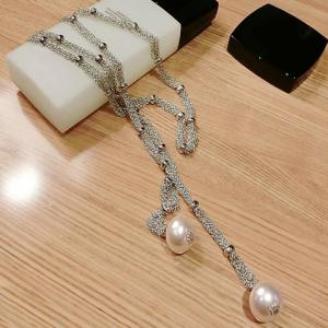 Faux Pearl Pendant Sweater Chain -