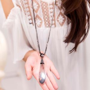 Delicate Faux Crystal Waterdrop Layered Sweater Chain For Women -