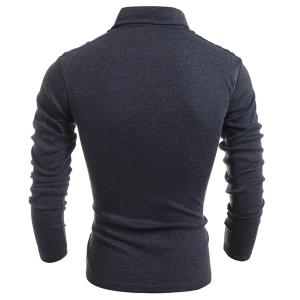 Long Sleeve PU-Leather Insert Polo T-Shirt - DEEP GRAY M