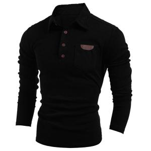 Long Sleeve PU-Leather Insert Polo T-Shirt - Black - L