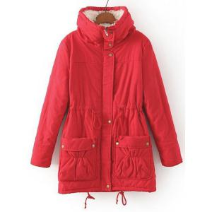 Fresh Style Drawstring Thick Fleece Coat For Women -