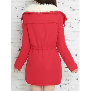 Fresh Style Drawstring Thick Fleece Coat For Women - RED S