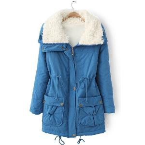 Fresh Style Drawstring Thick Fleece Coat For Women - Blue - M