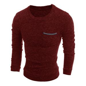 Round Neck Solid Color Edging Pocket Long Sleeve Men's Sweater -