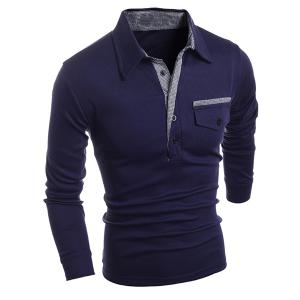 Turn-Down Collar Button Embellished Pocket Long Sleeve Men's Polo T-Shirt