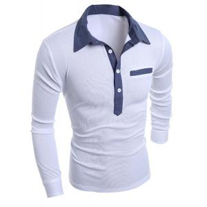 Turn-Down Collar Chambray Splicing Long Sleeve Buttons Men's Polo T-Shirt