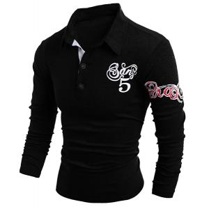 Turn-Down Collar Letter and Horse Printed Long Sleeve Buttons Men's Polo T-Shirt - BLACK L