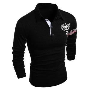 Turn-Down Collar Letter and Horse Printed Long Sleeve Buttons Men's Polo T-Shirt