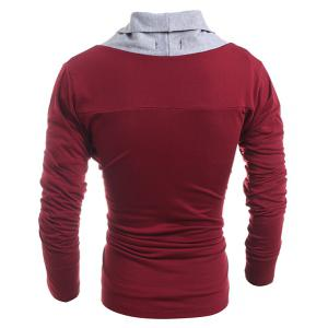 Turn-Down Collar Color Block Splicing Long Sleeve Men's Cardigan -