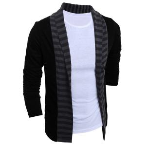 Turn-Down Collar Color Block Splicing Stripe Long Sleeve Men's Cardigan - Black - 2xl