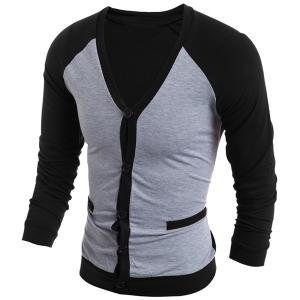V-Neck Color Block Splicing Single-Breasted Long Sleeve Men's Cardigan - BLACK M