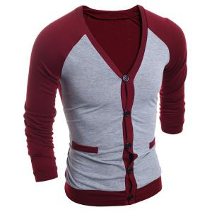 V-Neck Color Block Splicing Single-Breasted Long Sleeve Men's Cardigan - Red - L