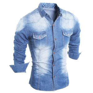 Turn-Down Collar Star Pattern Lining Long Sleeve Printed Button Men's Chambray Shirt - Light Blue - 2xl