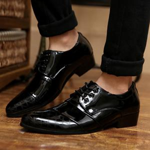 Stylish Patent Leather and Checked Design Men's Formal Shoes - BLACK 42