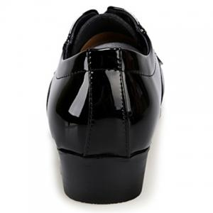 Stylish Patent Leather and Checked Design Men's Formal Shoes -