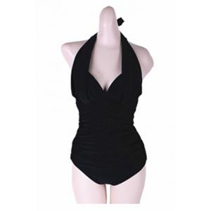 Sexy Halterneck Ruched One-Piece Swimsuit For Women