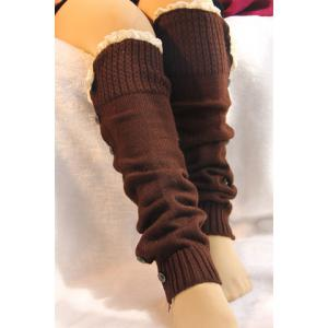 Pair of Chic Button Lace Solid Color Knitted Leg Warmers For Women -