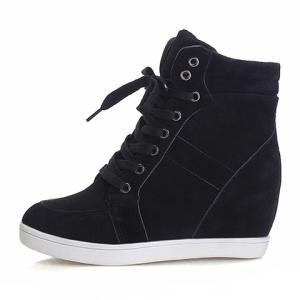 Simple Suede and Pure Color Design Women's Athletic Shoes -
