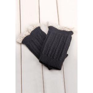 Pair of Chic Lace Embellished Herringbone Knitted Boot Cuffs For Women - Deep Gray - S