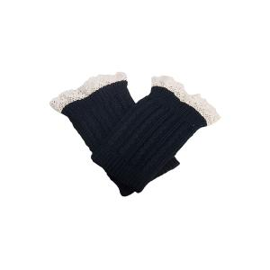 Pair of Chic Lace Embellished Herringbone Knitted Boot Cuffs For Women - Black - L