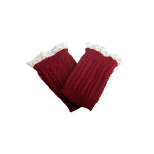Pair of Chic Lace Embellished Herringbone Knitted Boot Cuffs For Women - Red