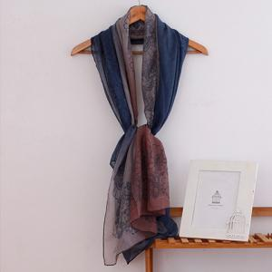 Fashionable Ombre Flowers Pattern Scarf For Women - BLUE