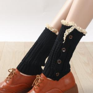 Pair of Chic Button and Lace Embellished Knitted Boot Cuffs For Women -