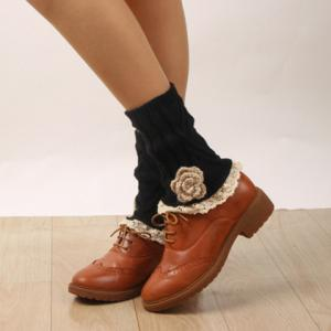 Pair of Chic Flower Shape and Lace Embellished Knitted Boot Cuffs For Women -