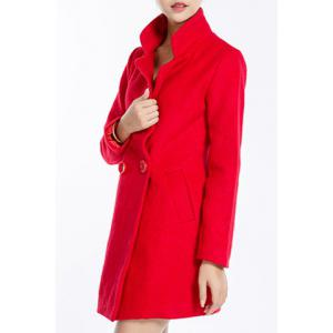 Stylish Lapel Neck Long Sleeve Solid Color Pocket Design Coat For Women -