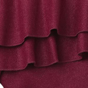Graceful High-Waisted Solid Color Layered Women's Culotte - WINE RED M