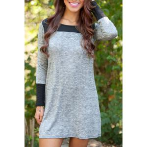 Scoop Neck Long Sleeve Color Block Mini Dress - Gray - M