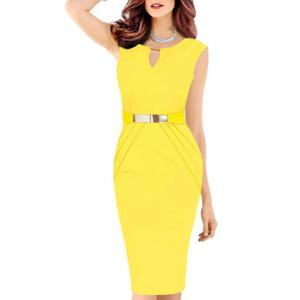 Faux Belt Embellished Ruched Bodycon Work Dress