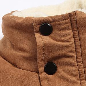 Flocking Stand Collar Splicing Design Long Sleeve Thicken Men's Cotton-Padded Jacket -