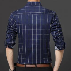 Turn-Down Collar Slimming Long Sleeve Checked Men's Button-Down Shirt -