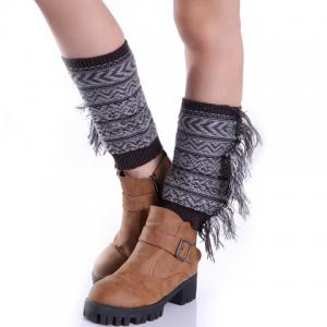 Pair of Chic Bohemian Geometric Pattern Tassel Knitted Boot Cuffs For Women -